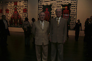 Gilbert and George, ( glasses) Gilbert and George Major Exhibition. Tate Modern. Afterwards dinner at Christchurch Spitafields. London. 13 February 2007.  -DO NOT ARCHIVE-© Copyright Photograph by Dafydd Jones. 248 Clapham Rd. London SW9 0PZ. Tel 0207 820 0771. www.dafjones.com.