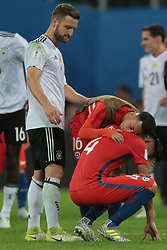 July 2, 2017 - Saint Petersburg, Russia - Martin Rodriguez, Mauricio Isla (R) of the Chile national football team reacts during the 2017 FIFA Confederations Cup final match between Chile and Germany at Saint Petersburg Stadium on July 02, 2017 in St. Petersburg, Russia. (Credit Image: © Igor Russak/NurPhoto via ZUMA Press)