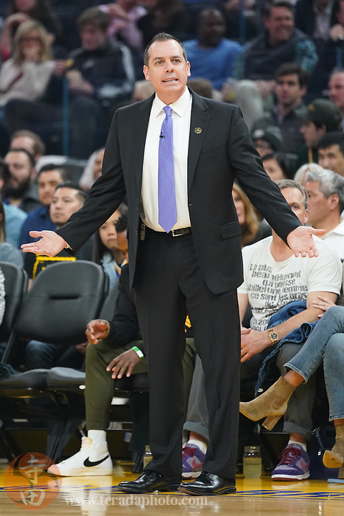 February 27, 2020; San Francisco, California, USA; Los Angeles Lakers head coach Frank Vogel argues against the Golden State Warriors during the first quarter at Chase Center.