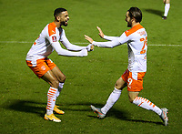 Blackpool's Luke Garbutt celebrates his side's opening goal with CJ Hamilton<br /> <br /> Photographer Alex Dodd/CameraSport<br /> <br /> FA Cup Second Round - Harrogate Town v Blackpool - Saturday 28th November 2020 - Wetherby Road - Harrogate <br />  <br /> World Copyright © 2020 CameraSport. All rights reserved. 43 Linden Ave. Countesthorpe. Leicester. England. LE8 5PG - Tel: +44 (0) 116 277 4147 - admin@camerasport.com - www.camerasport.com