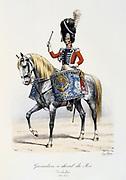 Drummer of the King's Mounted Grenadiers, 1814-1815. From 'Histoire de la maison militaire du Roi de 1814 a 1830' by Eugene Titeux, Paris, 1890.