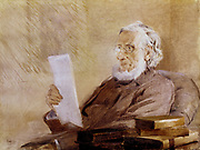 John Tyndall (1820-1893) Irish born physicist and mountaineer (1893). Studied in Marburg under Robert Bunsen (1811-1899). Appointed professor at the Royal Institution, London, in 1844. President of the British Association for the Advancement of Science 1874 Portrait by American artist John McLure Hamilton (1853-1936).  Oil on canvas.