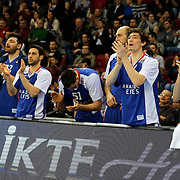 Anadolu Efes's players celebrate victory during their Turkish Airlines Euroleague Basketball Top 16 Round 11 match Anadolu Efes between Nizhny Novgorod at Abdi ipekci arena in Istanbul, Turkey, Thursday March 19, 2015. Photo by Aykut AKICI/TURKPIX