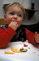 Toddler eating healthy finger food in highchair UK