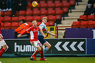 Charlton Athletic midfielder Chris Solly (20) and Accrington Stanley forward Luke Armstrong (39) challenge over the ball during the EFL Sky Bet League 1 match between Charlton Athletic and Accrington Stanley at The Valley, London, England on 19 January 2019.