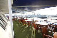 Voyages of Discovery's newly refurbished ship mv Voyager arrives in Portsmouth, UK, ahead of it's naming ceremony on Tuesday..Tables and chairs under the new Awning.