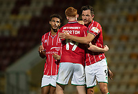 Lincoln City's Callum Morton, left,  celebrates scoring his side's fifth goal with team-mates Max Melbourne and Tom Hopper<br /> <br /> Photographer Chris Vaughan/CameraSport<br /> <br /> Carabao Cup Second Round Northern Section - Bradford City v Lincoln City - Tuesday 15th September 2020 - Valley Parade - Bradford<br />  <br /> World Copyright © 2020 CameraSport. All rights reserved. 43 Linden Ave. Countesthorpe. Leicester. England. LE8 5PG - Tel: +44 (0) 116 277 4147 - admin@camerasport.com - www.camerasport.com