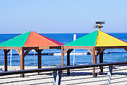 Gay rainbow flag colours on a beach in Tel Aviv, Israel,