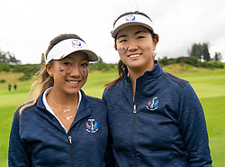 Auchterarder, Scotland, UK. 10 September 2019. Day one of the Junior Solheim Cup 2019 at the Centenary Course at Gleneagles. Tuesday Morning Foursomes. Pictured  Zoe Campos (l) and Rose Zhang of USA after losing 4&3. Iain Masterton/Alamy Live News