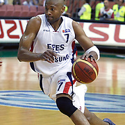 Efes Pilsen's Charles SMITH during their Turkish Basketball league Play Off Final fifth leg match Efes Pilsen between Fenerbahce Ulker at the Ayhan Sahenk Arena in Istanbul Turkey on Sunday 30 May 2010. Photo by Aykut AKICI/TURKPIX