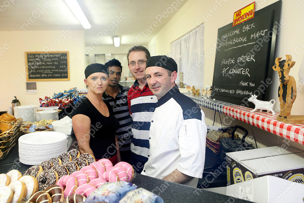 03/09/11<br /> Mart Cafe Staff, Laura O'Sullivan, Vinay Kaleechurm, Don Murphy and Darragh Quinn pictured at Sixmilebridge Co-Op Mart, Co Clare.<br /> Picture: Don Moloney / Press 22