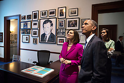 Vicki Kennedy, widow of Senator Ted Kennedy, shows President Barack Obama and First Lady Michelle Obama a replica of Sen. Kennedy's Senate office following the dedication of the Edward M. Kennedy Institute for the United States Senate in Boston, Mass., March 30, 2015. (Official White House Photo by Pete Souza)<br /> <br /> This official White House photograph is being made available only for publication by news organizations and/or for personal use printing by the subject(s) of the photograph. The photograph may not be manipulated in any way and may not be used in commercial or political materials, advertisements, emails, products, promotions that in any way suggests approval or endorsement of the President, the First Family, or the White House.
