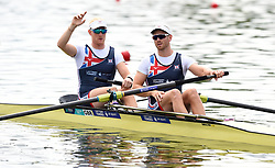 Great Britain's Oliver Cook (front) and Matthew Rossiter compete in the Men's Pair Semifinal A/B 1 during day two of the 2018 European Championships at the Strathclyde Country Park, North Lanarkshire.