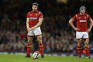 Leigh Halfpenny of Wales prepares to kick a conversion. RBS Six Nations 2017 international rugby, Wales v Ireland at the Principality Stadium in Cardiff , South Wales on Friday 10th March 2017.  pic by Andrew Orchard, Andrew Orchard sports photography