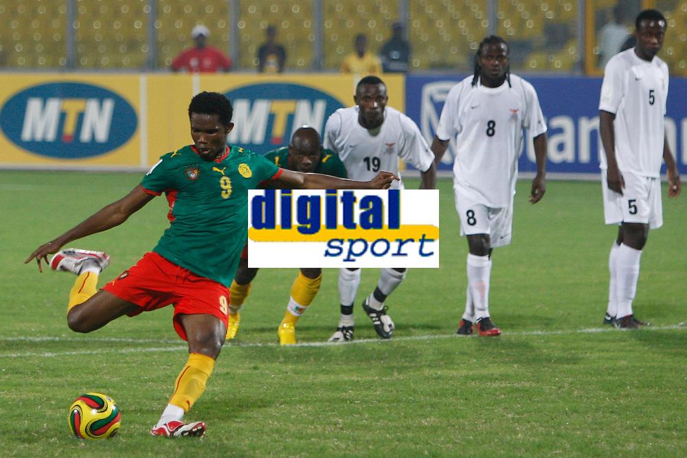 Photo: Steve Bond/Richard Lane Photography.<br /> Cameroun v Zambia. Africa Cup of Nations. 26/01/2008. Samuel Eto'o (L) strokes home the penalty