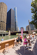 The City Wine bar on the Riverwalk by the Chicago River during summer in Chicago, Illinois, USA
