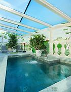 Architecture; interior of a veranda with bath