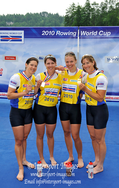 Bled, SLOVENIA,  Women's  Quadruple Sculls, bow Annie VERNON, Beth RODFORD, Anna WATKINS [BEBINGTON] and Katherine GRAINGER. 1st FISA World Cup. Third day. Rowing Course. Lake Bled.  Sunday  30/05/2010  [Mandatory Credit Peter Spurrier/ Intersport Images]