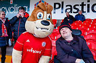 Accrington Stanley mascot with a fan during the EFL Sky Bet League 1 match between Accrington Stanley and Portsmouth at the Fraser Eagle Stadium, Accrington, England on 27 October 2018.