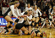 Benet Academy celebrates as they defeat Cary-Grove in the 4A girls volleyball championship at Redbird Arena in Normal on Saturday, Nov. 12, 2011.