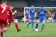 AFC Wimbledon midfielder Anthony Hartigan (8) passing the ball during the EFL Sky Bet League 1 match between AFC Wimbledon and Accrington Stanley at the Cherry Red Records Stadium, Kingston, England on 6 April 2019.