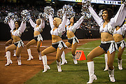 Oakland Raiderettes perform on the sidelines during a preseason NFL game against the Tennessee Titans at Oakland Coliseum in Oakland, Calif., on August 26, 2016. (Stan Olszewski/Special to S.F. Examiner)