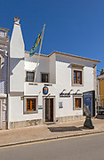 Swedish flag flying consulate building for Sweden, Tavira, Algarve, Portugal, southern Europe