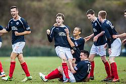 Falkirk's Blair Alston celebrates after scoring their second goal.<br /> Hamilton 1 v 2 Falkirk, Scottish Cup quarter-final, Saturday, 2nd March 2013.<br /> ©Michael Schofield.