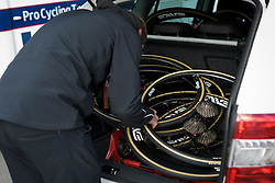Boot full of wheels at the Liege-Bastogne-Liege Femmes - a 135.5 km road race between Bastogne and Ans on April 23 2017 in Liège, Belgium.