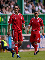 Photo: Jed Wee/Sportsbeat Images.<br /> Hibernian v Middlesbrough. Pre Season Friendly. 28/07/2007.<br /> <br /> Middlesbrough's new signings Tuncay Sanli (L) and Luke Young.