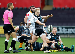Aled Davies of Ospreys clears<br /> <br /> Photographer Simon King/Replay Images<br /> <br /> Guinness PRO14 Round 2 - Ospreys v Cheetahs - Saturday 8th September 2018 - Liberty Stadium - Swansea<br /> <br /> World Copyright © Replay Images . All rights reserved. info@replayimages.co.uk - http://replayimages.co.uk