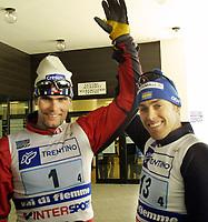 Val di Fiemme.2003-02-25/ Stafett 4x10km/ Thomas Alsgaard od Joergen Brink.<br />Foto, Calle Toernstroem