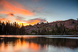 """""""Sunset at Lower Rock Lake 2"""" - Sunset photo shot at Lower Rock Lake in the back country of the Tahoe National Forest."""