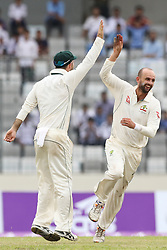 August 29, 2017 - Mirpur, Dhaka, Bangladesh - Australian cricketer Nathan Lyon reacts after the dismissal of the Bangladeshi cricket captain Mushfiqur Rahim during the third day of the first Test cricket match between Bangladesh and Australia at the Sher-e-Bangla National Cricket Stadium in Dhaka on August 29, 2017. (Credit Image: © Ahmed Salahuddin/NurPhoto via ZUMA Press)