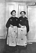 Emmeline Pankhurst (1857-1918)  and her daughter Christabel (1880-1958), English suffragettes in prison dress