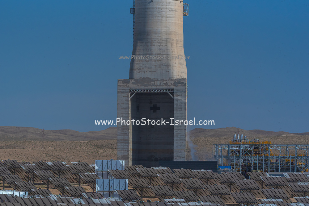 The collection station at the Ashalim Solar Power station is a solar thermal power station in the Negev desert near the kibbutz Ashalim, in Israel. The station will provide 121 Megawatt of electricity (2.0% of the Israeli consumption), which makes it the largest of its kind in Israel and 5th largest in the world. The mirrors focus sun rays onto the tower, thus producing steam