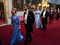 The Duchess of Gloucester and the Lord Great Chamberlain arrive through the East Gallery during the State Banquet at Buckingham Palace, London, on day one of the US President's three day state visit to the UK.