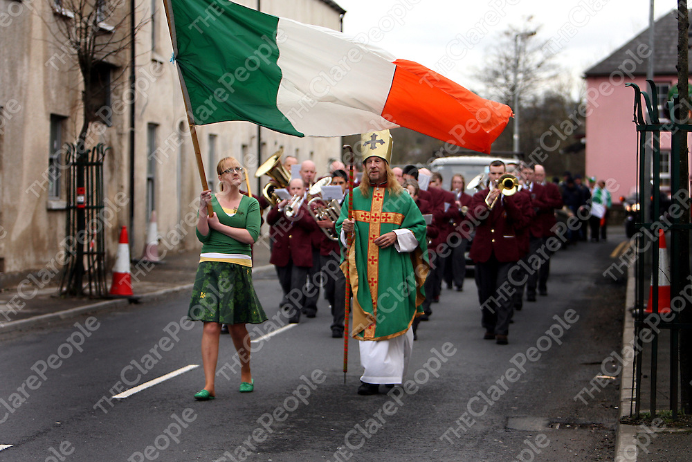 St. John's Pipe Band play St. Patrick in at the annual Sixmilebridge St. Patrick's Day Parade on Sunday.<br /><br />Photograph by Yvonne Vaughan.