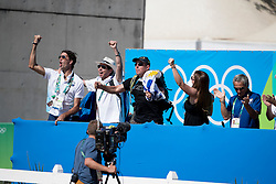 Nielsen Van Hoff Nestor, URU, Prince Royal Z de la Luz<br /> owner of the horse of Jerome with arms in the air<br /> Olympic Games Rio 2016<br /> © Hippo Foto - Dirk Caremans<br /> 14/08/16