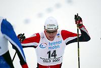 Cross Country skiing, 16. march 2002. Holmenkollen Oslo, 50 km men. Svein Tore Sinnes, Norge.
