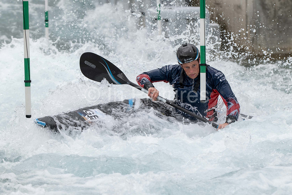 Womans slalom kayaker, Fiona Pennie at Lee Valley White Water Centre with Team GBs Canoe Slalom Team on the 7th June 2019 in London in the United Kingdom. Fiona Pennie is one of Great Britain's most experienced womens K1 slalom kayakers.
