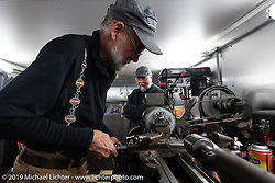 George Unruh working on his 1924 Harley-Davidson JDCA during the Motorcycle Cannonball coast to coast vintage run. Stage 14 (303 miles) from Spokane, WA to The Dalles, OR. Saturday September 22, 2018. Photography ©2018 Michael Lichter.