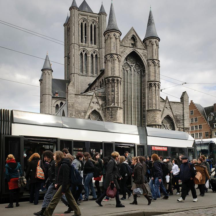Saint Nicholas' Church and the tramway, Ghent, Belgium, Europe
