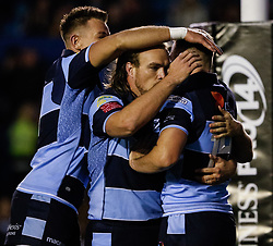 Cardiff Blues players celebrate but the try was disallowed<br /> <br /> Photographer Simon King/Replay Images<br /> <br /> Guinness PRO14 Round 4 - Cardiff Blues v Munster - Friday 21st September 2018 - Cardiff Arms Park - Cardiff<br /> <br /> World Copyright © Replay Images . All rights reserved. info@replayimages.co.uk - http://replayimages.co.uk