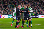 Jens Stage & Victor Nelsson of FC Copenhagen giving Kristoffer Ajer of Celtic FC a hard time during the Europa League match between Celtic and FC Copenhagen at Celtic Park, Glasgow, Scotland on 27 February 2020.
