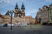 "Almost empty Old Town Square in the city center of Prague. The ""Church of Our Lady before Týn"" in the back. The Czech government lowered the security measures and as of Monday 25 May 2020, wearing of protective masks will be mandatory only in the interiors of buildings other than the place of residence and in public transport."