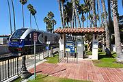 Metrolink Pacific Surfliner Train Passing Through Downtown San Clemente