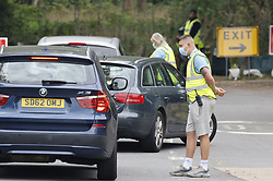 © Licensed to London News Pictures. 16/09/2020. Chessington, UK. People arrive by car at a Coronavirus testing centre in the car park of Chessington World of Adventures, south west of London. The Government have faced criticism after people face delays in getting tested for the virus. Photo credit: Peter Macdiarmid/LNP