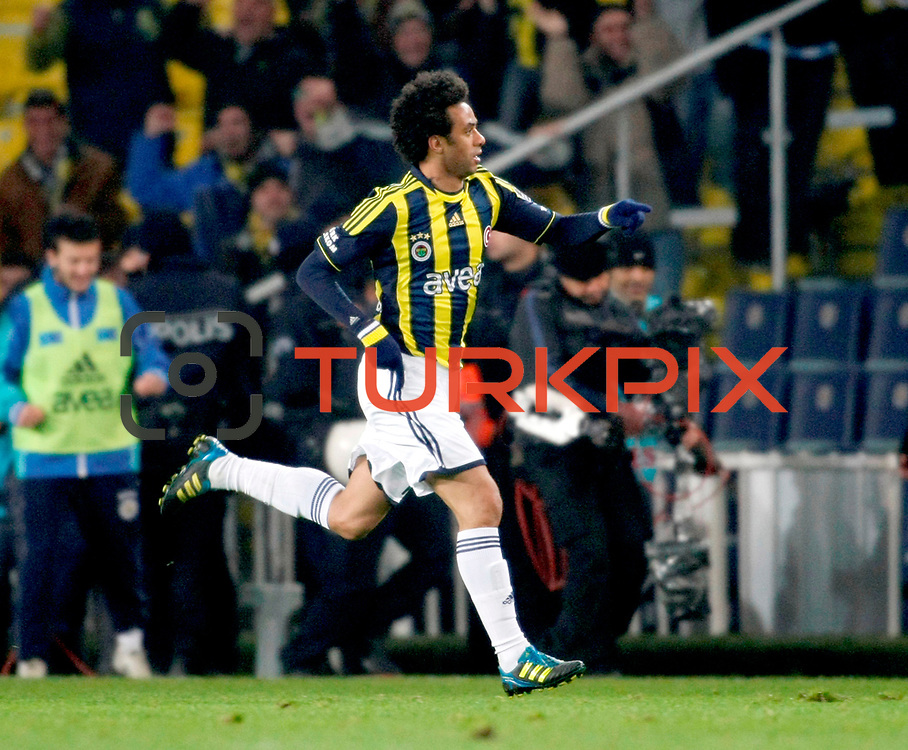 Fenerbahce's Cristian Oliveira Baroni celebrate his goal during their Turkish superleague soccer match Fenerbahce between Gaziantepspor at the Sukru Saracaoglu stadium in Istanbul Turkey on Monday09 January 2011. Photo by TURKPIX