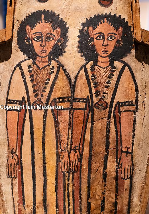 Detail of double coffin of Petamun and Penhorpabik at the National Museum of Scotland in Edinburgh.